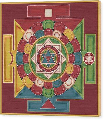 Mandala Of The 5 Elements Earth-water-fire-air-space Wood Print by Carmen Mensink