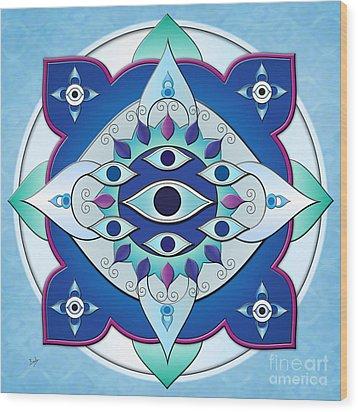 Mandala Of The Seven Eyes Wood Print by Bedros Awak