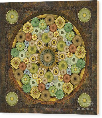 Mandala Stone Flowers Wood Print