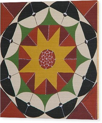 Mandala Wood Print by Terry Honstead