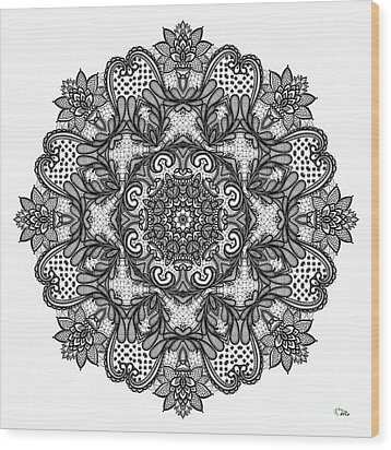 Mandala To Color 2 Wood Print by Mo T