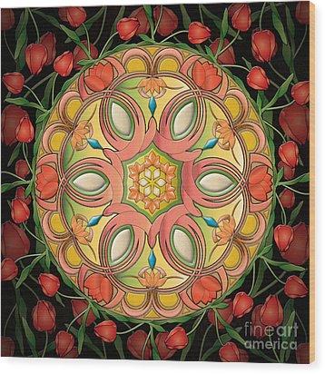 Mandala Tulipa Wood Print by Bedros Awak