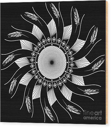 Wood Print featuring the digital art Mandala White And Black by Linda Lees