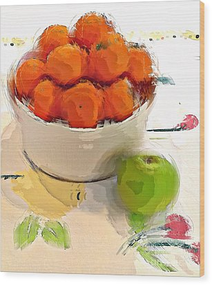 Wood Print featuring the digital art Mandarin With Apple by Alexis Rotella