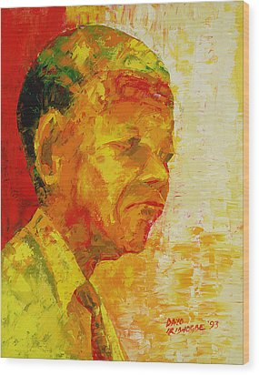 Mandela Wood Print by Bayo Iribhogbe