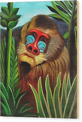 Mandrill In The Jungle Wood Print by Henri Rousseau