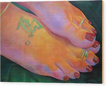 Mandy Toes Orange Wood Print by Jerrold Carton