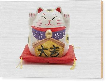 Maneki Neko Wood Print