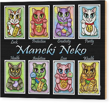 Maneki Neko Luck Cats Wood Print by Carrie Hawks