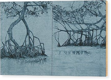 Mangroves Wood Print by Leah  Tomaino