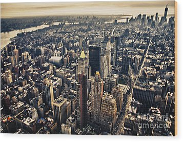 Manhattan Wood Print by Alessandro Giorgi Art Photography