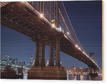 Manhattan And Brooklyn Bridges Wood Print