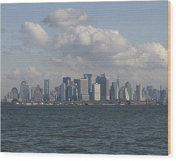 Manhattan And Governors Island Wood Print by Christopher Kirby