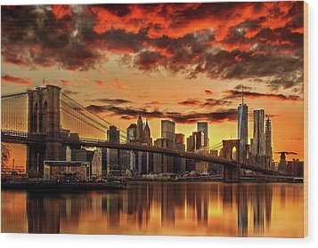 Manhattan Bbq Wood Print by Az Jackson