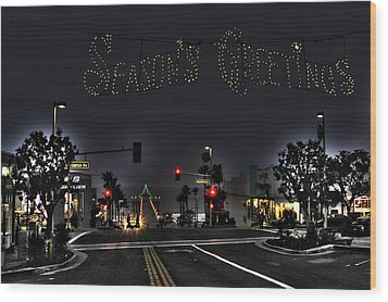 Manhattan Beach Christmas Wood Print