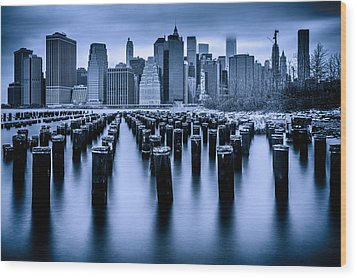 Wood Print featuring the photograph Manhattan Blues by Chris Lord