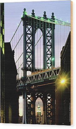 Manhattan Bridge And Empire State Building Wood Print by Mark Ivins