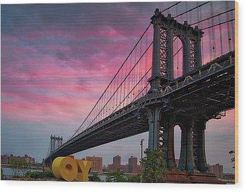 Wood Print featuring the photograph Manhattan Bridge At Sunrise  by Emmanuel Panagiotakis