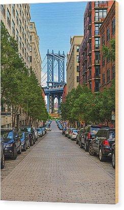 Wood Print featuring the photograph Manhattan Bridge by Emmanuel Panagiotakis