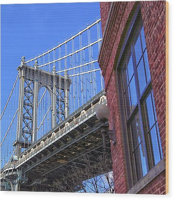 Wood Print featuring the photograph Manhattan Bridge by Mitch Cat