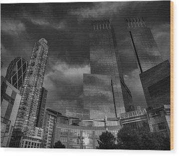 Manhattan - Columbus Circle 001 Bw Wood Print by Lance Vaughn