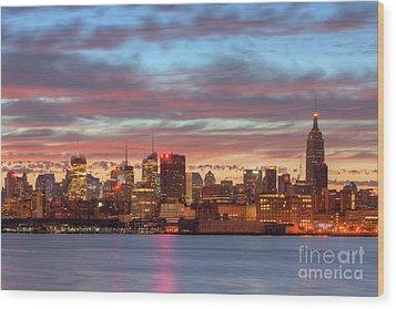 Manhattan Dawn Skyline I Wood Print by Clarence Holmes