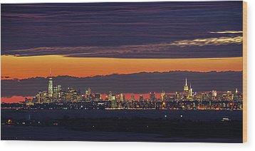 Manhattan Lights Wood Print