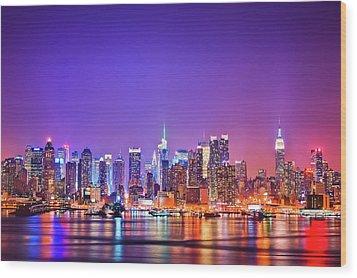 Manhattan Lights Wood Print by Matthias Haker Photography