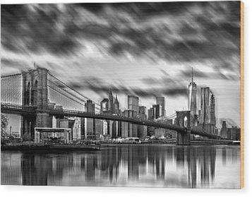 Manhattan Moods Wood Print by Az Jackson