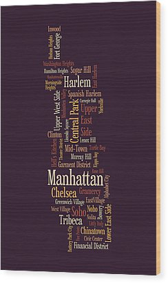 Manhattan New York Typographic Map Wood Print by Michael Tompsett