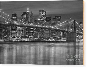 Manhattan Night Skyline Iv Wood Print