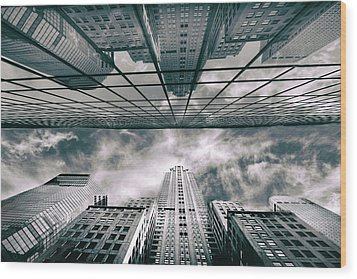 Wood Print featuring the photograph Manhattan Reflections by Jessica Jenney