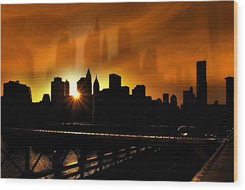 Manhattan Silhouette Wood Print by Svetlana Sewell