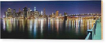 Manhattan Skyline - Southside Wood Print by Shane Psaltis