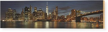 Wood Print featuring the photograph Manhattan Skyline At Night - Panorama by Nathan Rupert