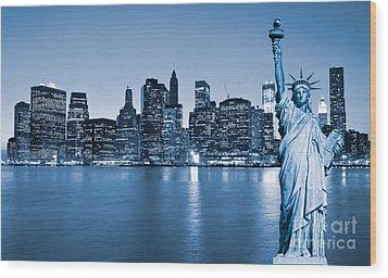 Manhattan Skyline Wood Print by Luciano Mortula