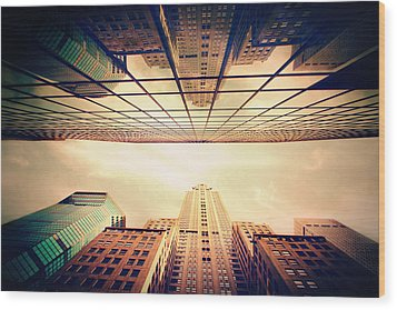Wood Print featuring the photograph Manhattan Skyline Reflections by Jessica Jenney