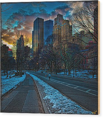 Manhattan Sunset Wood Print by Chris Lord
