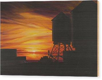 Manhattan Sunset Wood Print by Christopher Oakley