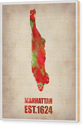 Manhattan Watercolor Map Wood Print by Naxart Studio
