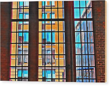Manhattan Windows Wood Print