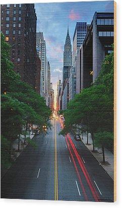 Manhattanhenge From 42nd Street, New York City Wood Print by Andrew C Mace