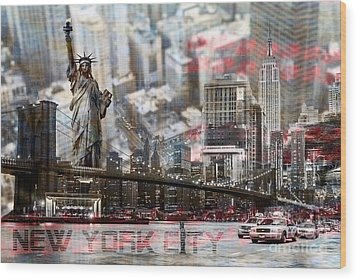 Wood Print featuring the photograph Manhatten From Above by Hannes Cmarits