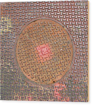 Manhole Mandala Wood Print