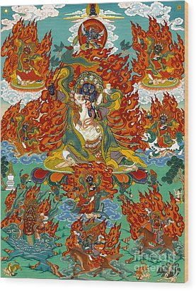 Maning Mahakala With Retinue Wood Print by Sergey Noskov