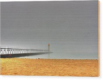 Manistee Light And Fog Wood Print by Randy Pollard
