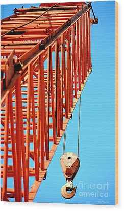 Manitowoc Red Boom Block And Hook Wood Print by Maria Urso