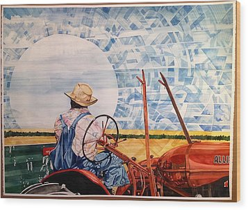 Manny During Wheat Harvest Wood Print by Lance Wurst