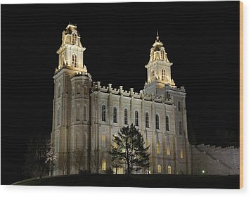 Manti Temple Night Wood Print by David Andersen