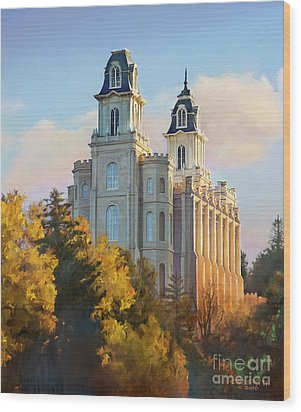 Manti Temple Tall Wood Print